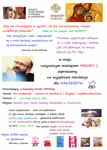 Akt małżeński - rekolekcje z o.Knotzem PLAKAT